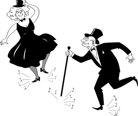 Senior couple dressed in retro fashion tap dancing, EPS 8 vector line illustration