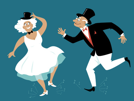 Senior couple dressed in retro fashion tap dancing, EPS 8 vector illustration
