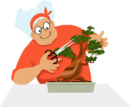Elderly woman pruning a bonsai tree, EPS 8 vector illustration