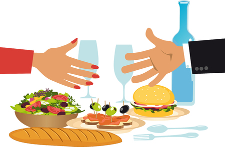 Business people shaking hands over a dinner table representing a business lunch or a networking event, EPS 8 vector illustration