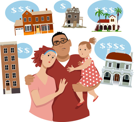 Young couple with a kid contemplating real estate options for a starter home, EPS 8 vector illustration