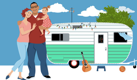 Young minimalist family in front of a mobile home, manufactured house or caravan home, EPS 8 vector illustration