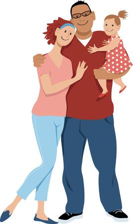 Familia joven de raza mixta feliz con una pequeña niña, ilustración vectorial EPS 8