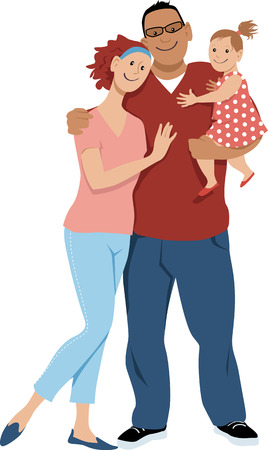 Young happy mixed race family with a small baby girl, EPS 8 vector illustration