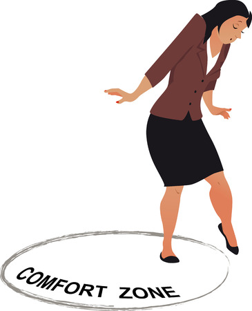 Woman carefully stepping out of a comfort zone, EPS 8 vector illustration