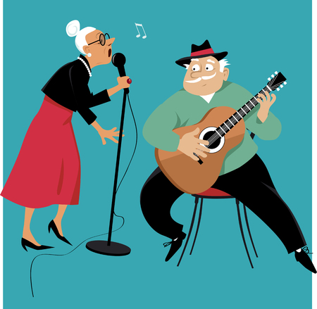 Old lady singing and an old gentleman accompany her on a guitar, EPS 8 vector illustration