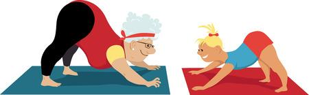 Elderly woman doing yoga with little girl, EPS 8 vector illustration