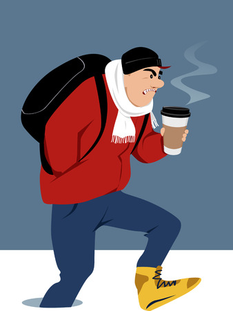 Man with a backpack and a cup of coffee to-go walking in deep snow, EPS 8 vector illustration Ilustração