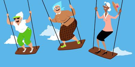 Three fun elderly women on swings, EPS 8 vector illustration