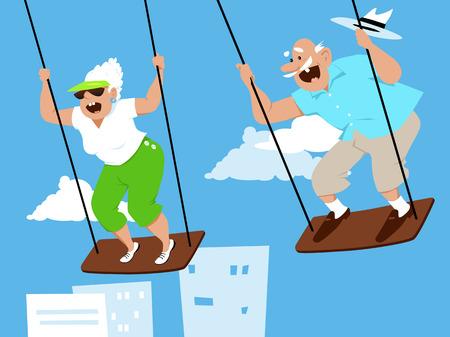 Fun elderly couple on swings, enjoying themselves, EPS 8 vector illustration Illustration