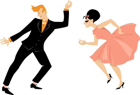 Young couple dressed in 1960s fashion dancing retro style, EPS 8 vector illustration