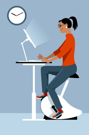 Young woman working at the office on the computer, using a stationary bicycle desk, EPS 8 vector illustration
