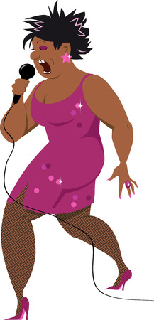 Black middle aged woman singing in a microphone, EPS 8 vector illustration