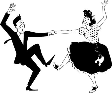 Couple habillé en vintage se ferme, danse rock and roll, illustration vectorielle EPS 8