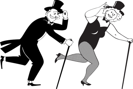 Senior couple dressed in stage costumes, in top hats and with canes tap dancing, EPS 8 black line vector illustration, no white objects