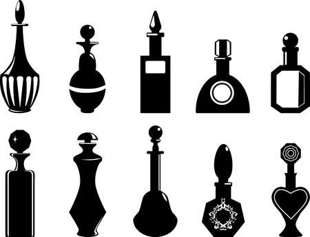 Set of bottles or vials, EPS 8 vector black silhouette illustration, no white objects