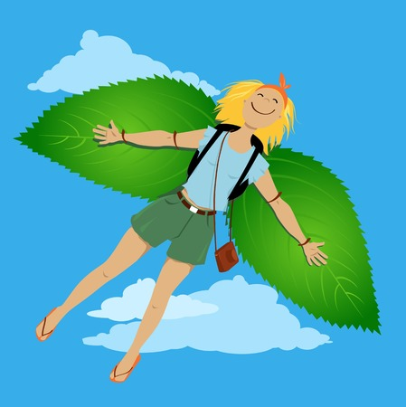 Young woman flying on leaves wings, representing ecotourism and eco-travel, EPS 8 vector illustration Illustration