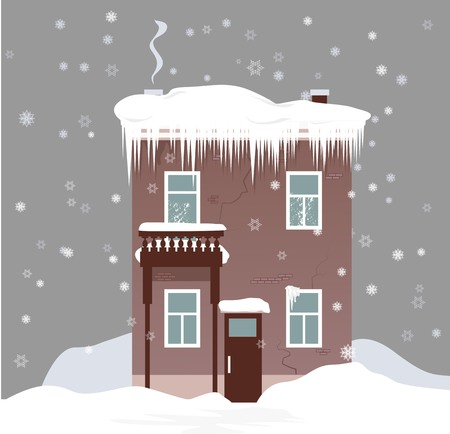 House in winter under snow with heavy ice dam on the roof, EPS 8 vector illustration