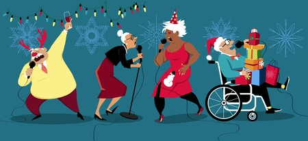 Senior people celebrating winter holidays and singing karaoke, EPS 8 vector illustration