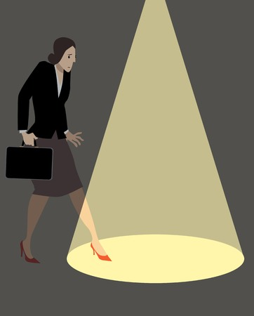 Timid business woman anxiously stepping into a spotlight, EPS 8 vector illustration
