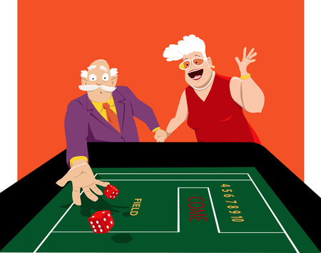 Senior couple shooting craps in a casino, EPS 8 vector illustration