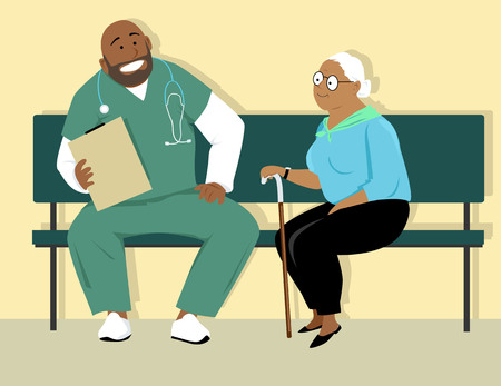 Elderly woman talking to a doctor or a male nurse in scrubs, EPS 8 vector illustration