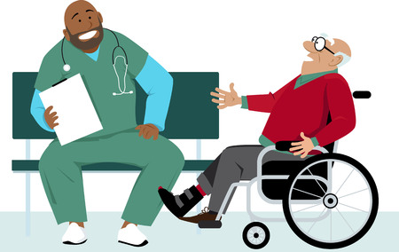 Elderly man in a wheelchair talking to a doctor or a male nurse in scrubs, EPS 8 vector illustration