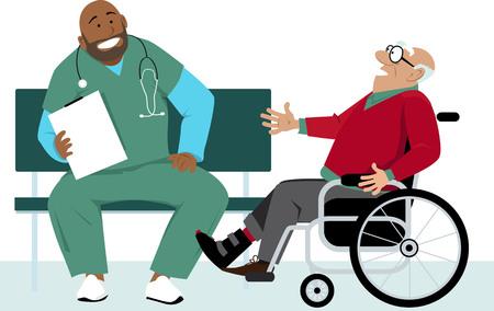 Elderly man in a wheelchair talking to a doctor or a male nurse in scrubs, EPS 8 vector illustration Standard-Bild - 120318896