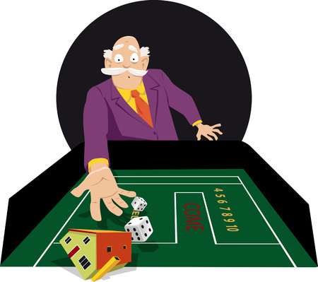 Senior man shooting craps in a casino, gambling his house away, EPS 8 vector illustration