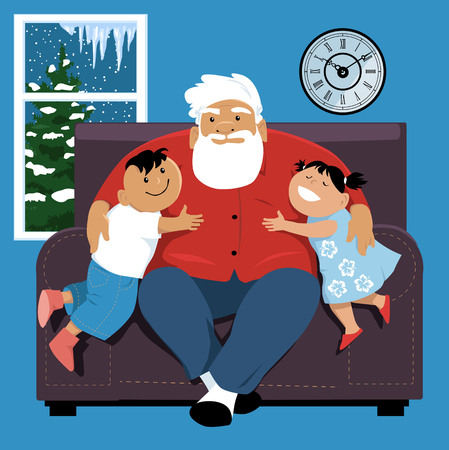Elderly man sitting in a chair, hugging his grandchildren, EPS 8 vector illustration Ilustração