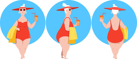 Full-figured mature woman in a bathing suit and a hat, character design, front, side and rear view, EPS 8 vector illustration Stock Illustratie