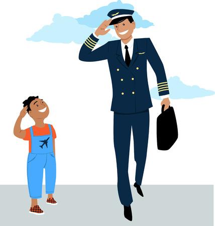 Niño saluda a un piloto en uniforme, vector EPS 8 Ilustración de vector