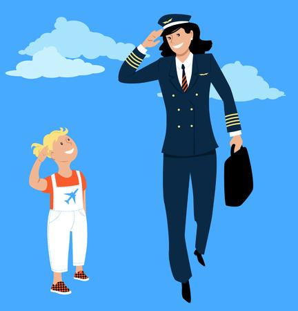 La bambina saluta un pilota donna in uniforme, vettore EPS 8