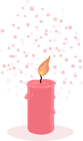 Scented candle with botanical fragrance, EPS 8 vector illustration