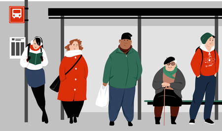Diverse people at the urban bus stop waiting for the transportation, EPS 8 vector illustration