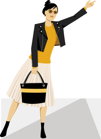 Young fashionably dressed modern woman hailing a taxi cab,  EPS 8 vector illustration