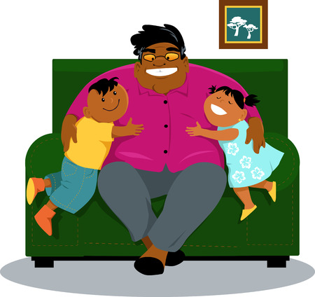 Mature black man sitting in a chair, hugging his grandchildren, EPS 8 vector illustration
