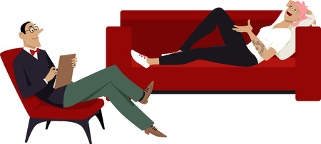 A millennial teenage girl talking to a psychiatrist, lying on a couch, EPS 8 vector illustration Illustration