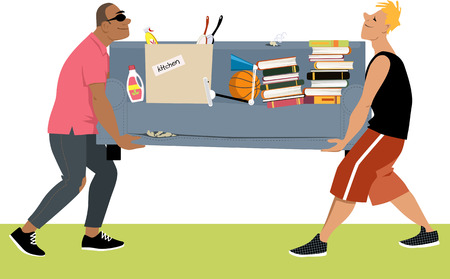 Two young man carrying a couch loaded with other belongings, moving in to a dormitory, EPS 8 vector illustration