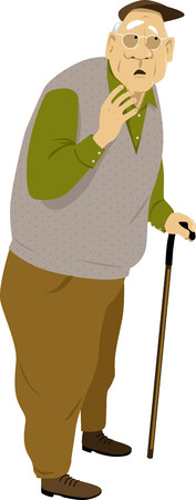 Elderly man standing with a cane, listening attentively and looking worried, EPS 8 vector illustration