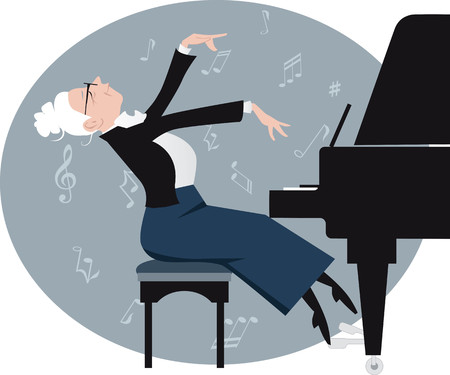 Elderly woman expressively playing a piano, EPS 8 vector illustration