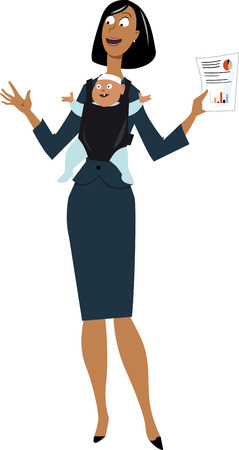 Businesswoman making a presentation at work with her baby in a carrier, EPS 8 vector illustration