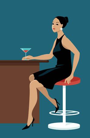 Young pretty woman sitting at a bar with a cocktail, waiting, EPS 8 vector illustration Illusztráció