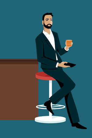 Young stylish man sitting at a bar with a drink and a smart-phone in his hands, alone, EPS 8 vector illustration 向量圖像