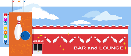 Bowling alley exterior, EPS 8 vector illustration