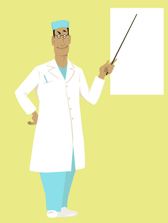 Doctor in a white coat and scrubs pointing at a board, EPS 8 vector illustration, copy space left
