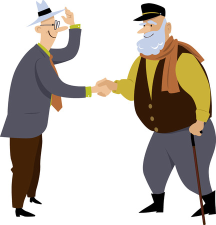 Two senior men exchange a friendly handshake, EPS 8 vector illustration