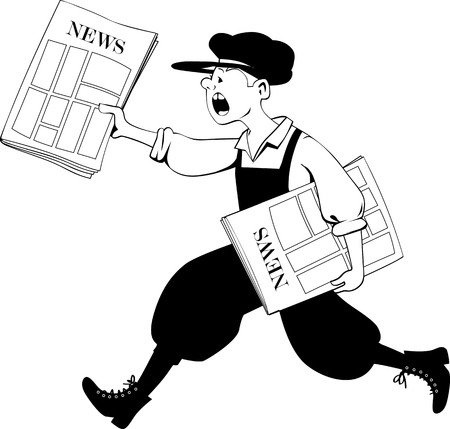 Paperboy running with a pack of newspapers, EPS 8 black vector outline illustration, no white objects Illustration