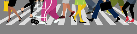 Diverse peoples legs crossing a street at a crosswalk, EPS 8 vector illustration