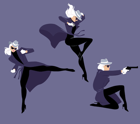Mystery woman character in three action poses, EPS 8 vector illustration